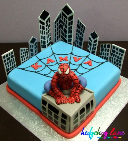 Spiderman Single Tier Fondant Cake rectangle with details